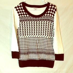 black & white sweater.